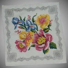 Iris and Anemone Flower Handkerchief