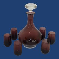 Hand Blown Amethyst Decanter and 6 Cordial Glasses