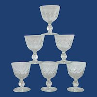 Mid Century Clear Cordial Glass Set of 6