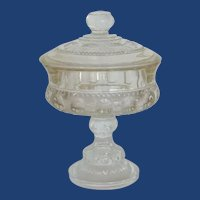 Pressed Glass Mid Century Candy Dish Compote
