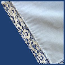 Blue Handkerchief with Lace Edge
