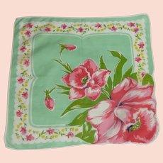 Mint Green Pink Daffodil Handkerchief Hankie