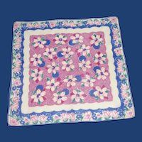 Blue Maroon Pink Flowered Handkerchief