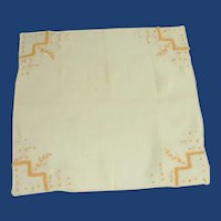 Yellow Pull Work and Applique Handkerchief