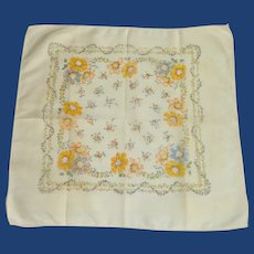 Yellow and Blue Bachelor Button Handkerchief