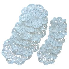 6 White Lace Doily Placemats and Coasters