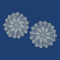 Two Small White Pinwheel Doily Doilies