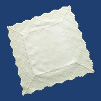 Wide White Lace Edged White Handkerchief Hankie –