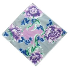 Pink Purple Bold Flower Grey Handkerchief