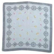 Grey, Pink and Yellow Handkerchief