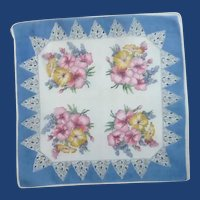 Blue and White with Pink Yellow Flowers Handkerchief