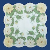 White Yellow Lillie Pad Flower Handkerchief