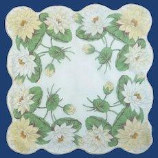 White Yellow Lillie Pad Flower Handkerchief