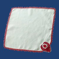 White Red Crocheted Edge and Heart Handkerchief Hanky