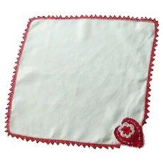 White Red Crocheted Edge and Heart Handkerchief Hanky