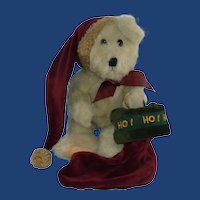 Boyds Bear with HO HO HO Stocking and Night Cap