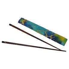 Beautiful Wood Chop Stick Set with Case