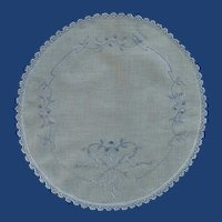 White with Blue Embroidered Accent Round Doily