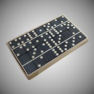 Black Marblelike Dominoes Game Set  / Box