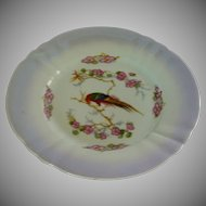 German Iridescent Salad Plate with Colorful Bird