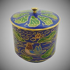 Royal Blue Cylinder Shape Miniature Cloisonne Pot / Box  with Lid