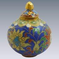 Royal Blue Miniature  Pumpkin Sphere Cloisonne Pot / Box  with Lid