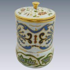 White Cylinder Shape Miniature  Cloisonne Pot / Box  with Lid