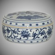 Blue White Round Porcelain Hand Painted Container Box with Lid