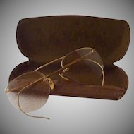 12K Gold Filled Wire Eye Glasses with Case