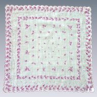 Purple Pink Leaf Leaves Design with Scallop Edge Handkerchief Hanky