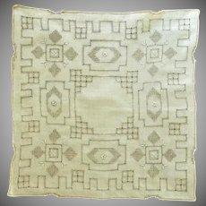 Beautiful Drawn Thread Pulled Work Off White Handkerchief
