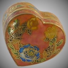 Pink Hinged Heart Cloisonne Box