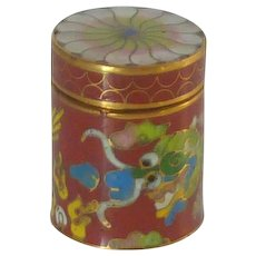 Miniature Cylindrical Cloisonne Box