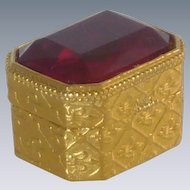 Small Florenza Red Faceted Glass Trinket Box