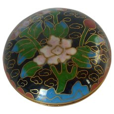 Miniature Cloisonne Squat Round Box with Cover