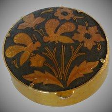Damascene Round Hinged Box with Bee Motif
