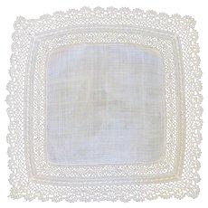 Vintage Ecru Off White Lacy Wedding Handkerchief