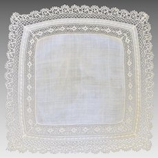 Vintage Ecru Off White Lacy Wedding Handkerchief