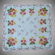 Red and Yellow Flowered Handkerchief Hankie Hanky