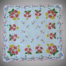 Red and Yellow Flowered Handkerchief Hankie Hanky