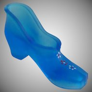 Westmoreland Frosted Milk Blue Glass Shoe