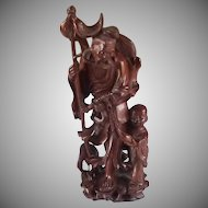 Carved Wood Asian Man with Boy and Fish