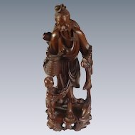 Carved Wood Asian Man with Boy, Fish and Bird