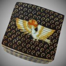 Navy Blue White Dove and Orange Cross Cloisonné Box
