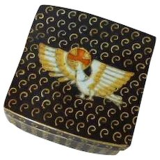 Navy Blue White Dove and Orange Cross Cloisonné Box