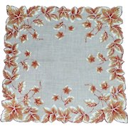 Autumn Leaves Scalloped White Handkerchief