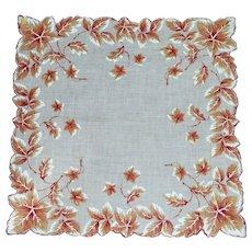 Autumn Leaves Scalloped White Handkerchief