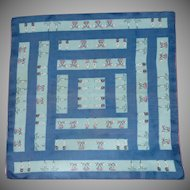 Blue and Pink Silk Scarf