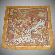 Horses  of Orange, Gold and Yellow Silk Scarf