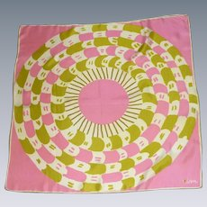 1960's Vera Silk Scarf Pink and Pea Green